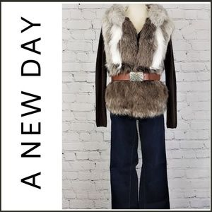 NWT A NEW DAY Faux Fur Hooded Vest